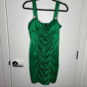 Love Tease emerald green ruched dress